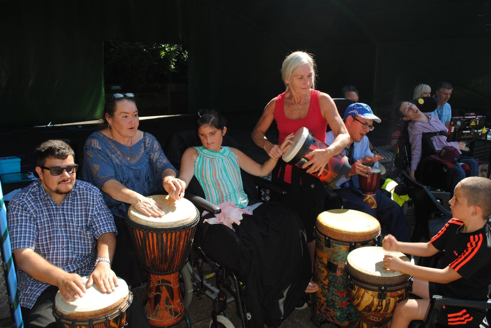 Residents drumming