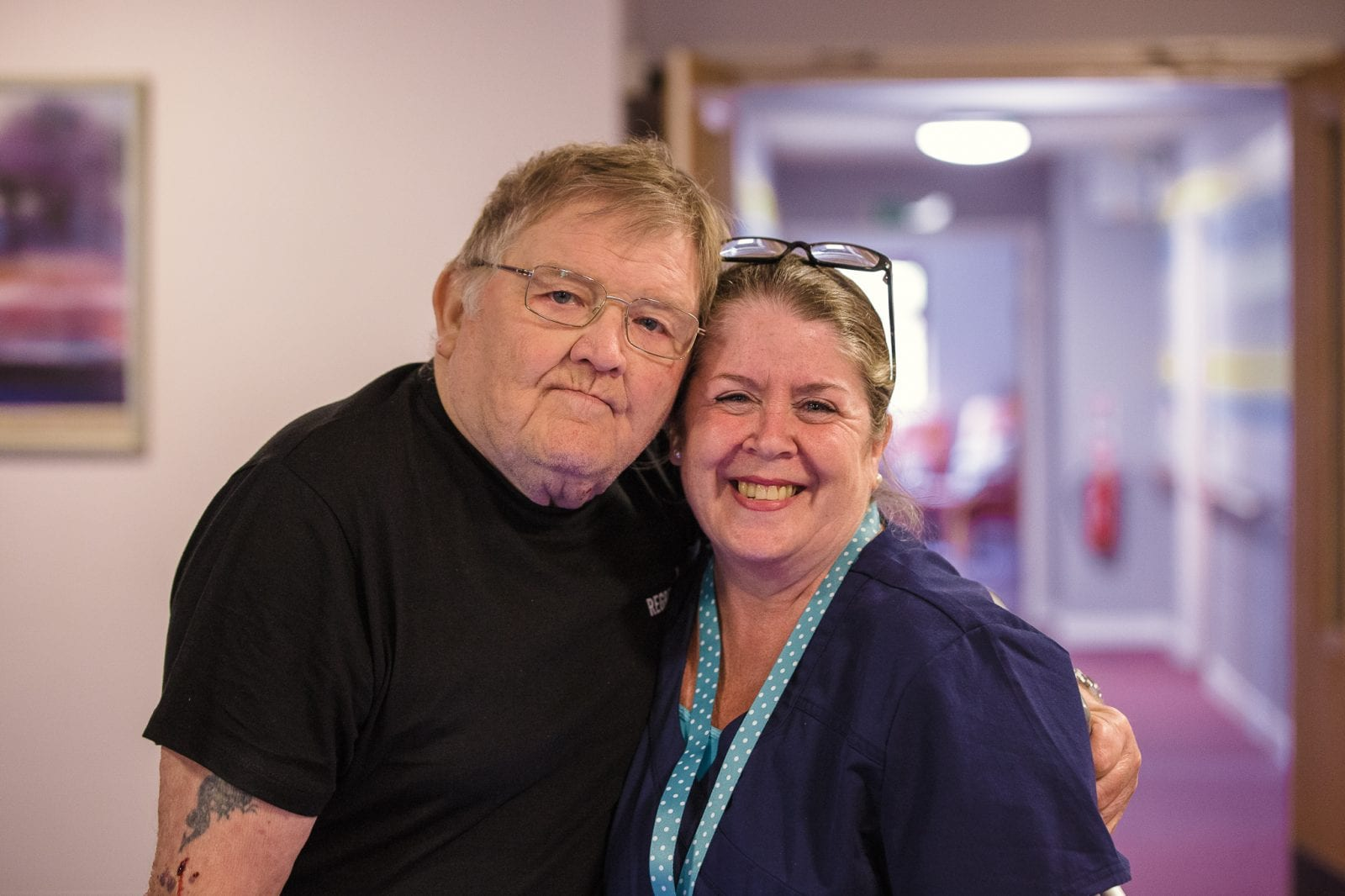 Resident and Carer at Platters Farm Lodge