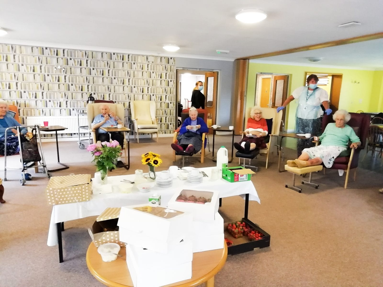 Residents enjoying the cream and tea party