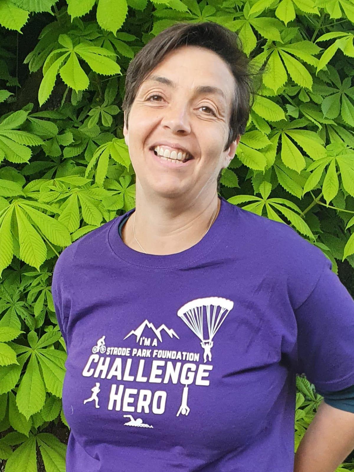 Fiona in her Strode Challenge Hero t-shirt